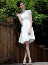 Fabulous One Shoulder Sleeveless Zipper Prom Dress White Chiffon