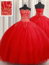 Pretty Sweetheart Sleeveless Lace Up Sweet 16 Quinceanera Dress Red Tulle