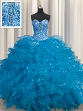 Extravagant See Through Teal Sweetheart Lace Up Beading and Ruffles Quinceanera Gowns Sleeveless