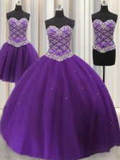 Best Three Piece Tulle Sweetheart Sleeveless Lace Up Beading and Sequins Quinceanera Gowns in Eggplant Purple