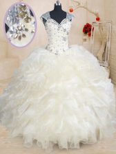 Champagne Straps Neckline Beading and Ruffles Sweet 16 Dress Cap Sleeves Zipper