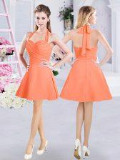 Orange A-line Chiffon Halter Top Sleeveless Ruching Mini Length Zipper Court Dresses for Sweet 16