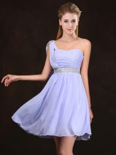 Free and Easy One Shoulder Lavender Sleeveless Sequins and Ruching Mini Length Damas Dress