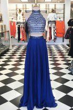 Royal Blue Sleeveless Chiffon Zipper Prom Dresses for Prom