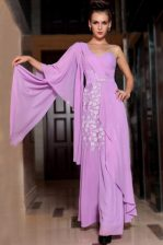 Lilac Side Zipper Prom Dress Beading and Ruching Half Sleeves Ankle Length