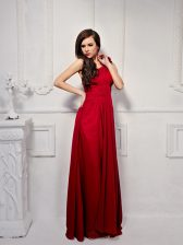 One Shoulder Floor Length Wine Red Prom Gown Chiffon Sleeveless Ruching and Hand Made Flower