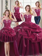 Four Piece Burgundy Ball Gown Prom Dress Military Ball and Sweet 16 and Quinceanera with Beading and Appliques and Pick Ups Sweetheart Sleeveless Lace Up