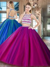 Edgy Scoop Fuchsia Backless Sweet 16 Quinceanera Dress Beading Sleeveless Floor Length