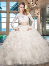 Perfect Scoop Long Sleeves Organza Floor Length Zipper Quinceanera Gowns in White with Beading and Lace and Ruffles