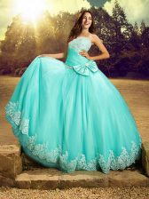 Sleeveless Beading and Lace and Bowknot Lace Up Sweet 16 Quinceanera Dress
