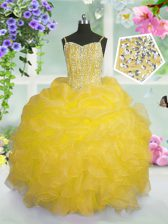 Spaghetti Straps Sleeveless Little Girls Pageant Dress Floor Length Beading and Ruffles and Pick Ups Gold Organza