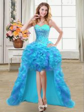 Charming High Low Ball Gowns Sleeveless Aqua Blue Prom Party Dress Lace Up