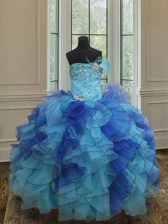 Latest Blue Lace Up Kids Pageant Dress Beading and Ruffles Sleeveless Floor Length