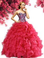 Free and Easy Red Sleeveless Beading and Ruffles Floor Length Ball Gown Prom Dress