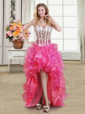 Hot Pink Sleeveless Organza Lace Up Evening Dress for Prom and Party