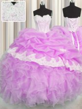Pick Ups Floor Length Lilac Quinceanera Dresses Sweetheart Sleeveless Lace Up
