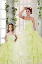 Elegant Light Yellow Organza Lace Up Quince Ball Gowns Sleeveless Floor Length Beading and Ruffled Layers and Ruching
