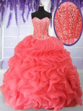 Stylish Watermelon Red Sweetheart Neckline Beading and Ruffles Quince Ball Gowns Sleeveless Lace Up