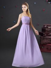Beauteous Strapless Sleeveless Lace Up Quinceanera Court of Honor Dress Lavender Chiffon