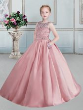 Scoop Floor Length Ball Gowns Sleeveless Pink Little Girls Pageant Dress Wholesale Lace Up