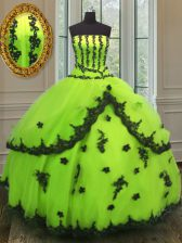 Yellow Green Sleeveless Appliques Floor Length Quinceanera Gown