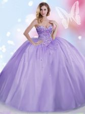 Ball Gowns Quinceanera Dress Lavender Sweetheart Tulle Sleeveless Floor Length Lace Up