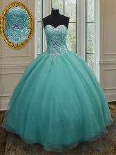 Extravagant Floor Length Ball Gowns Sleeveless Turquoise Vestidos de Quinceanera Lace Up