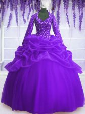 Long Sleeves Floor Length Sequins and Pick Ups Zipper Quinceanera Dress with Purple
