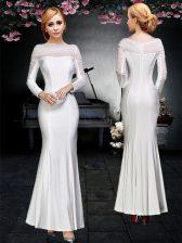 Deluxe White Column/Sheath Elastic Woven Satin Off The Shoulder Long Sleeves Ruching Floor Length Backless