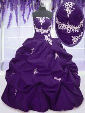 Cute Sleeveless Floor Length Appliques and Pick Ups Lace Up Quinceanera Gowns with Purple