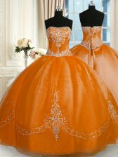 Edgy Rust Red Ball Gowns Strapless Sleeveless Organza Floor Length Lace Up Beading and Embroidery Sweet 16 Dresses