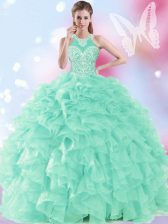 Modern Halter Top Floor Length Ball Gowns Sleeveless Apple Green Quinceanera Gowns Lace Up