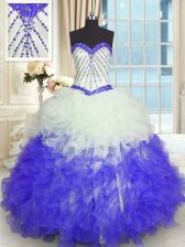 Adorable Blue And White Sweetheart Lace Up Beading and Ruffles Quinceanera Dress Sleeveless