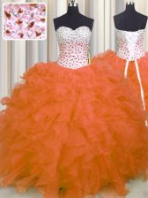 Delicate Orange Red Sleeveless Floor Length Beading and Ruffles Lace Up Sweet 16 Dress