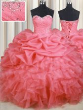 Decent Watermelon Red Ball Gowns Sweetheart Sleeveless Organza Floor Length Lace Up Beading and Ruffles and Ruching and Pick Ups Quinceanera Gowns