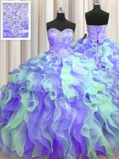 Most Popular Organza Sleeveless Floor Length Sweet 16 Dress and Beading and Appliques and Ruffles