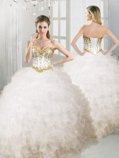 Ball Gowns Quinceanera Gown White Sweetheart Organza Sleeveless Floor Length Lace Up