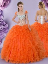 Sleeveless Floor Length Beading and Ruffles Lace Up 15th Birthday Dress with Orange Red