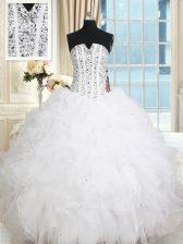 Sleeveless 15th Birthday Dress Floor Length Beading and Ruffles White Organza