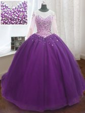Superior Scoop Purple Quinceanera Dresses Organza Sweep Train Long Sleeves Beading and Sequins