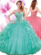 Custom Made Beading and Ruffles and Pick Ups Quinceanera Dresses Turquoise Lace Up Sleeveless Floor Length