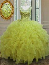 Trendy Yellow Green V-neck Neckline Beading and Ruffles Sweet 16 Quinceanera Dress Sleeveless Zipper