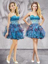 Artistic Multi-color Sleeveless Beading and Ruffles Mini Length Evening Dress