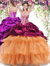 Beauteous Sweetheart Sleeveless Sweet 16 Dresses With Brush Train Beading and Ruffled Layers and Pick Ups Multi-color Organza and Taffeta