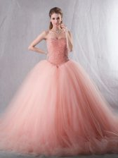 Tulle Sweetheart Sleeveless Brush Train Lace Up Beading Quinceanera Dress in Pink
