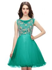 Gorgeous Turquoise Scoop Neckline Embroidery Dress for Prom Sleeveless Zipper