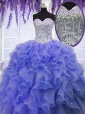Purple Sweetheart Neckline Ruffles and Sequins Quince Ball Gowns Sleeveless Lace Up