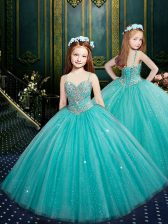 Tulle Spaghetti Straps Sleeveless Zipper Beading and Sequins Little Girl Pageant Dress in Aqua Blue