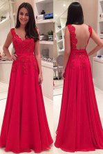 Glorious Red A-line Lace Prom Dresses Backless Chiffon Sleeveless Floor Length