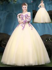 Scoop Light Yellow Long Sleeves Floor Length Appliques Lace Up 15th Birthday Dress